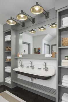 √ 17 Best Bathroom Renovation Using Attractive Bathroom Paint Colors & Schemes Grey Bathroom Vanity, Small Bathroom Sinks, Grey Bathrooms, Master Bathroom, Bathroom Ideas, Design Bathroom, Lake House Bathroom, White Bathroom, Bathroom Remodeling