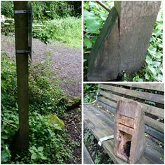 This is how you make a geocache blend in! It looks like a post support, but it's really the geocache. Nice hollowed out hide. #IBGCp