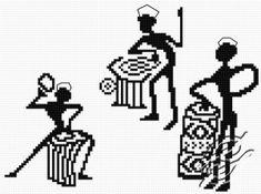 grafico punto de cruz gratis en pdf para bordar dibujo de musicos trivales africanos