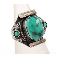 Sterling Silver Turquoise Ring Signed 925 Tibetan Handmade Ladies Sz 8... ($35)  liked on Polyvore featuring jewelry rings vintage sterling silver jewelry sterling silver turquoise rings blue turquoise jewelry sterling silver rings and vintage turquoise jewelry