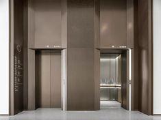 西安丝路国际会议中心_杨邦生律师事务所 Elevator Lobby Design, Fabric Covered Walls, Glass Curtain Wall, Lift Design, Lobby Interior, Hall Design, Lobbies, Commercial Interiors, Model Homes