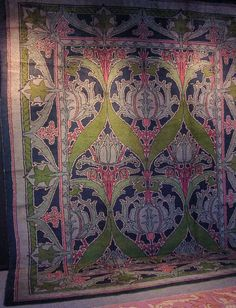 Fabulous Arts and Crafts carpet, circa 1900, offered by the venerable rug dealer, Keshishian.  It was made by Alexander Morton & Co. and the dealer believes the design is attributable to C.F.A. Voysey (Don't know Voysey?  He is a designer right up there with William Morris in the English Arts and Crafts period.  Gorgeous Colours