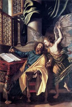Vincenzo Campi St Matthew and the Angel hand painted oil painting reproduction on canvas by artist St Mathew, Saint Matthew, Religious Pictures, Religious Art, Catholic Art, Catholic Saints, Roman Catholic, Annibale Carracci, Web Gallery Of Art