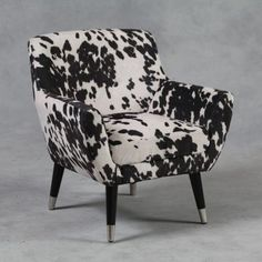 Mid Century Style Armchair - Like Cowhide button back Retro Chair - Accent Chairs Cowhide Furniture, Cowhide Chair, Mirrored Furniture, Leather Furniture, French Furniture, Retro Furniture, Unique Furniture, Rustic Furniture, Cowhide Fabric