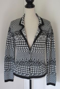 Coldwater Creek Black White Fair Isle Wool Blend Cardigan Sweater S 6 8 Jacket #ColdwaterCreek #Cardigan