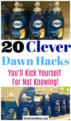 20 Frugal Ways to Use Dawn Dish Soap - A Cultivated Nest - 20 Frugal Ways to Use Dawn Dish Soap I didn't know these Dawn Dishsoap Hacks! So many good cleaning tips using dawn. Cleaning hacks, cleaning tips, Dawn Hacks, how to use Dawn Dish Soap - Cleaning Day, Household Cleaning Tips, Cleaning Recipes, House Cleaning Tips, Spring Cleaning, Cleaning Hacks, Homemade Cleaning Supplies, Household Cleaning Products, Wall Cleaning