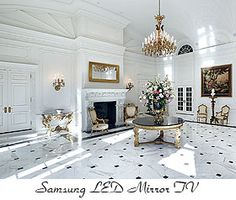 Hide your television with a Mirror TV. The Samsung LED Mirror TV features flawless resolution and incredible brightness. Rome Apartment, Mirror Tv, Living Room Mirrors, Living Rooms, Hidden Tv, Elegant Centerpieces, Framed Tv, Tv In Bedroom, Kitchen Redo