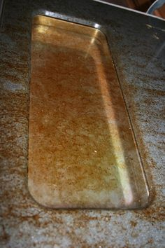 Clean that grease buildup from your oven door!  Works on cookie sheets too!