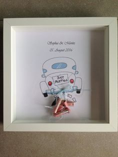 Wedding object picture frame - Finally give away honeymoon money: Classic white wooden picture frame with hone car, bow and person - Wooden Picture Frames, Picture On Wood, Best Wedding Gifts, Trendy Wedding, Wedding Present Ideas, Money Frame, Silver Gifts, Diy Birthday, 25th Birthday