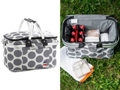The Perfect Dot picnic basket lives up to its name, with mod spots, an insulated interior, and a manageable size. When chilly weather approaches (shudder), it collapses flat for easy storage. Available at modcloth.com, $50.