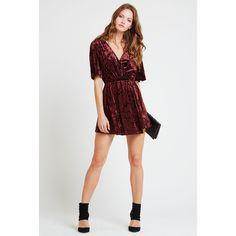 BCBGeneration Crushed Velvet Surplice Dress ($98) ❤ liked on Polyvore featuring dresses, purple, short sleeve dress, party dresses, surplice dress, purple dress and crushed velvet dress