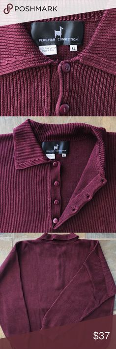 Peruvian Collection 100% Pima Cotton Sweater Soft / 100% Pima Cotton / Made in Peru Peruvian Connection Sweaters