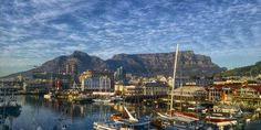 Cape Town Harbor And Table Mountain Picture. A view across the harbor of Cape Town and the Table Mountain in South Africa. Austrian Airlines, Turkish Airlines, V&a Waterfront, Destinations, Cape Town South Africa, Belle Villa, Pretoria, Business Class, National Parks