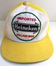separation shoes 463c4 7821c Heineken Beer Trucker Cap One Size Snapback Hat Vtg 80s Embroidered Patch   IndustrialHomeWork  Trucker
