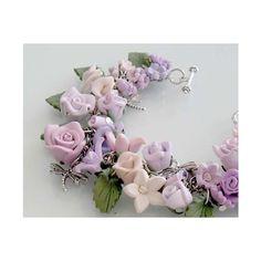 English Rose Garden Bracelet - Polymer Clay (420 RON) found on Polyvore