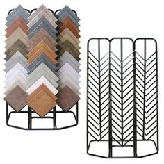 """Triple tile rack-38"""" W x 75"""" H x 23"""" D, Black powder coated finish. Holds up to (45) single tiles. Hold up to 16"""" x 16"""" size tiles"""