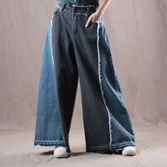 Buy Blue Contrast Tassel Wide Leg Jeans Raw Hem Denim Palazzo Pants in Jeans online shop, Morimiss offers Jeans to make you feel comfortable Loose Jeans Outfit, Denim Outfit, Jeans Jumpsuit, Jeans Pants, Hem Jeans, Moda Jeans, Womens Linen Clothing, Baggy Clothes, Denim Ideas