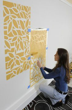 diy how to stencil art on wall... I like this pattern as wall art or with framed squares!?