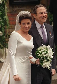 Princess Alexia and her father, the exiled King Constantine of Greece, smile on their arrival to the Greek Orthodox Cathedral of St. Sophia, Central London, July 9, 1999, for her wedding to Carlos Morales Quintana of Spain.