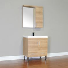 Wade Logan Waldwick Single Modern Bathroom Vanity Set with Mirror Base Finish: Light Oak Modern Cabinets, Modern Bathroom Vanity Lighting, Vanity Set With Mirror, Bathroom Vanity, Modern Bathroom, Vanity, Trendy Bathroom, Modern Bathroom Vanity, Light Oak