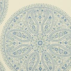 paisley circles wallpaper in blue from sanderson. caverley collection.