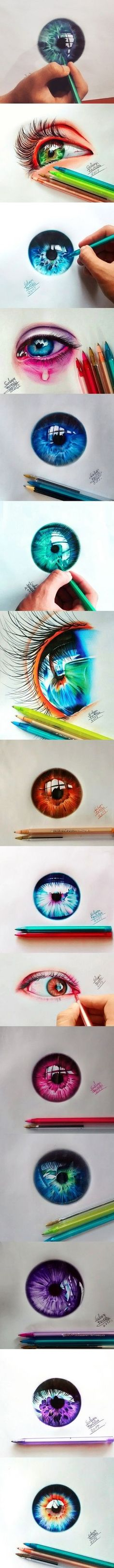 Fascinating Eyes Colors Drawing by Artist Gelson Fonteles Colorful Drawings, Cool Drawings, Pencil Art, Pencil Drawings, Eye Art, Art Techniques, Painting & Drawing, Drawing Eyes, Ball Drawing