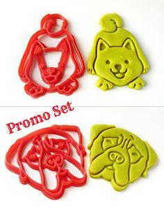 Smiley Puppy Fondant Cutter,Pet Gift Akita Inu//Shiba Inu Cute Dog Cookie Cutter