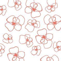 Fat quarter - Coral Little Blomster - Mormor by Lotta Jansdottir - Windham Fabrics cotton quilt fabric