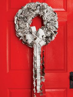 Recycle those old newspapers by turning them into a wreath!