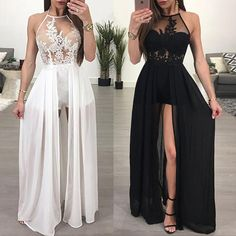 lace prom dresses long chiffon white halter a line sexy formal dress prom gowns casemento vestido de longo Sexy Formal Dresses, Cute Prom Dresses, Prom Outfits, Grad Dresses, Party Dresses For Women, Dance Dresses, Homecoming Dresses, Evening Dresses, Dress Prom