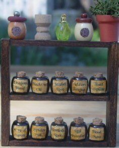 """tutorial is for """"potion bottles,"""" personally, I like the ideas for the dollhouse kitchen, bathroom or vanity table.   ; )"""