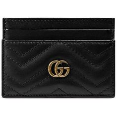 Gucci Gg Marmont Card Case ($230) ❤ liked on Polyvore featuring bags, wallets, accessories, black, small accessories & tech, women, hardware bag, genuine leather bags, genuine leather credit card holder wallet and card carrier wallet