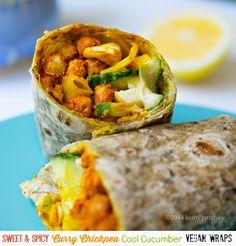 Sweet, Spicy, Curry Chickpea Cool Cucumber Wraps. #Vegan #GlutenFree (with GF wrap) #SoyFree