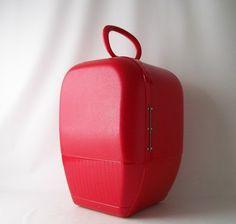 mid century modern vintage strawberry red train case / wig case