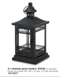 Resisting the charm of this blackgarden#lantern is impossible! The black metal framework features intricate Victorian-inspired embellishments that will enhance the glow of a candle inside. Features an oversized latch and a top finial with hanging loop. At zealsone.com