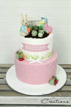 Girly Peter Rabbit cake--although I hate fondant, I like the soft pink with tiny polka dots and ribbon Garden Birthday Cake, Birthday Cake Girls, Birthday Cakes, Birthday Ideas, 2nd Birthday, Peter Rabbit Cake, Peter Rabbit Birthday, Beautiful Cake Pictures, Beautiful Cakes