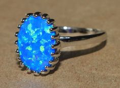 blue fire opal ring gemstone silver jewelry Sz 8 chic modern cocktail style SJ1 #Cocktail