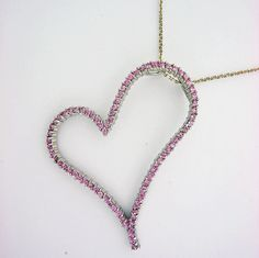 Sterling Silver Heart shaped Pendant with Pink Sapphire accents, weights 10 gram, comes with sterling silver chain. Women's Jewelry, Silver Jewelry, Pink Sapphire, Weights, Sterling Silver Necklaces, Heart Shapes, Pendant, Sterling Necklaces, Pendants