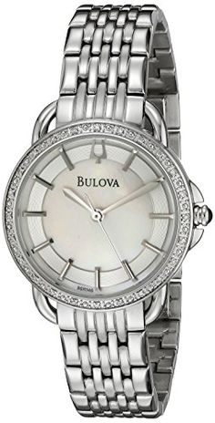 Bulova Women's 96R146 Diamond Mother of Pearl Watch. Domed mineral crystal. White Mother of Pearl dial 24 diamonds on case. Stainless steel case and bracelet. Water resistant to 30 meters.
