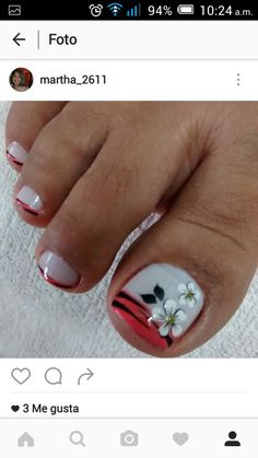 Uñas French Pedicure, Pedicure Nail Art, Toe Nail Art, Diy Nails, Nail Art Designs Videos, Toe Nail Designs, Cute Pedicure Designs, Pretty Toe Nails, Short Square Nails