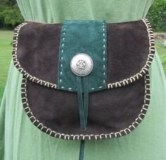 Leather Belt Pouch, SCA, LARP, Medieval Reeactments, Brown and Green, Hand Stitched. $40.00, via Etsy.