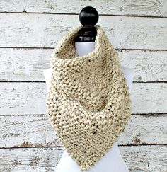 Knit Chunky Scarf Snood Oversized Bandana Cowl by pixiebell