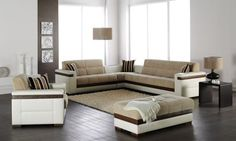 Mustard Fabric & White Leatherette Modern Sectional Sofa Bed