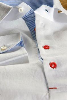 Camicia in Lino Bianca Colore Bianco Celeste e Rosso Trama a Tela su Misura  per Uomo c330809ff2