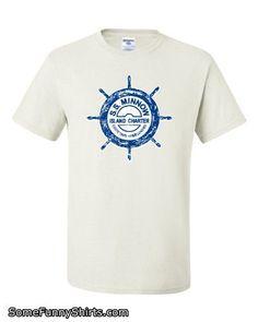 Small White Adult SS Minnow Funny Retro T-Shirt