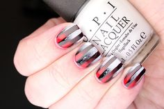 Polish All the Nails: Overlaid Red, Black and White Gradient Nails!