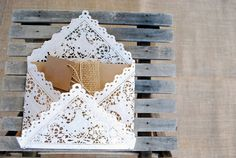 20 Lace Paper Envelopes for Wedding Invitation, Showers, Etc.