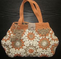recycled cotton and acrylic lined granny square bag  £20.00
