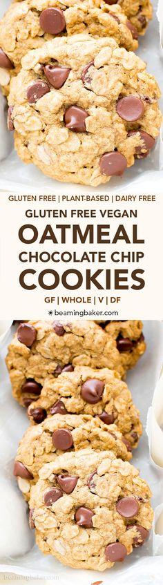 Gluten Free Vegan Oatmeal Chocolate Chip Cookies (V, GF, Dairy-Free): an easy recipe for soft, chewy oatmeal cookies bursting with chocolate chips and oats! #Vegan #GlutenFree #OatFlour #DairyFree | BeamingBaker.com