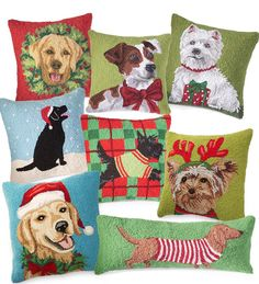 omg a yorkie Christmas throw pillow! Why does it have to be $40?! :( Hand-Hooked Holiday Dog Pillows